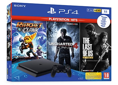 Sony PS4 1TB Slim Μαύρο & The Last of Us Remastered & Ratchet & Clank & Uncharted 4