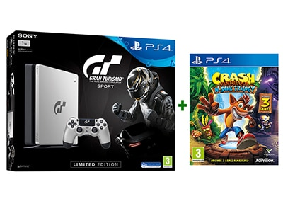 Sony PlayStation 4 1TB Slim Limited Edition Gran Turismo Sport & Crash Bandicoot N. Sane Trilogy