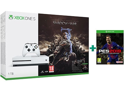Microsoft Xbox One S 1TB Λευκό & Middle-Earth: Shadow of War & Pro Evolution Soc gaming   κονσόλες   xbox one