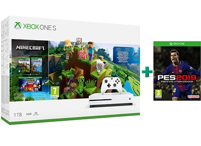Microsoft Xbox One S 1TB Λευκό & Minecraft Aquatic & Pro Evolution Soccer 2019 gaming   κονσόλες   xbox one