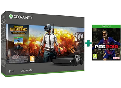 Microsoft Xbox One X 1TB Μαύρο & PlayerUnknown's Battlegrounds & Pro Evolution Soccer 2019