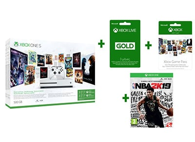 Microsoft Xbox One S Λευκό 500GB & Xbox Live Gold 3 μηνών & Xbox Game Pass 3 μην gaming   κονσόλες   xbox one