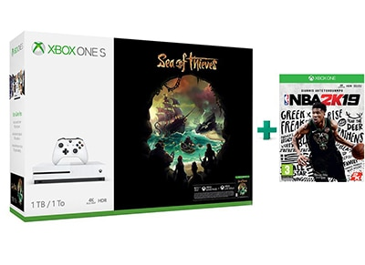 Microsoft Xbox One S 1TB Λευκό & Sea of Thieves & NBA 2K19 gaming   κονσόλες   xbox one