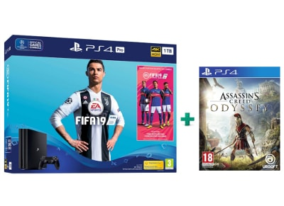 Sony PS4 Pro 1TB Μαύρο & FIFA 19 & Assassin's Creed Odyssey
