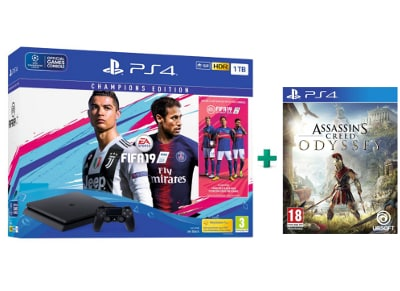Sony PS4 Slim 1TB Μαύρο & FIFA 19 Champions Edition & Assassin's Creed Odyssey
