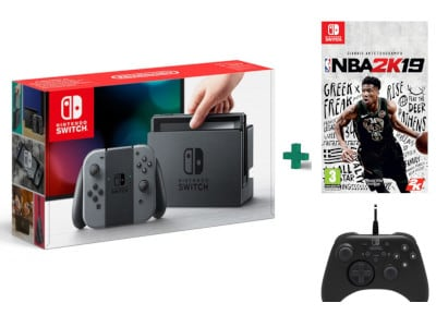 Nintendo Switch Grey & NBA 2K19 & Horipad Wired Controller