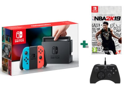 Nintendo Switch Neon Red/Neon Blue & NBA 2K19 & Horipad Wired Controller