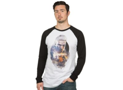 T-Shirt Jinx The Witcher 3 Geralt Raglan - Λευκό / Μαύρο S
