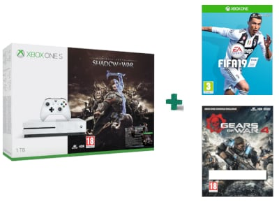 Microsoft Xbox One S White - 1TB & Middle-Earth: Shadow of War & Gears of War 4  gaming   κονσόλες   xbox one