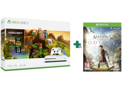 Microsoft Xbox One S White - 1TB Minecraft Creators Bundle & Assassin's Creed Odyssey