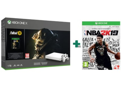 Microsoft Xbox One X Robot White 1TB & Fallout 76 Special Edition & NBA 2K19