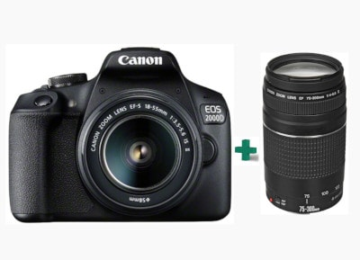 DSLR Canon EOS 2000D Kit 18-55mm IS SEE & Φακός Canon EF 75-300 mm f/4 - 5.6 III