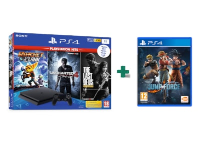Sony PS4 1TB Slim Μαύρο & 3 Hits Games & Jump Force gaming   κονσόλες   ps4