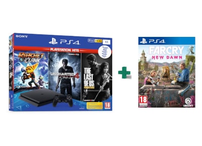 Sony PS4 1TB Slim Μαύρο & 3 Hits Games & Far Cry New Dawn gaming   κονσόλες   ps4