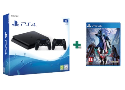 Sony PlayStation 4 - 1TB Slim D Chassis & 2ο Χειριστήριο & Devil May Cry 5 gaming   κονσόλες   ps4