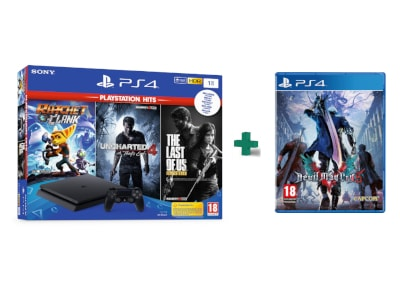 Sony PS4 1TB Slim Μαύρο & 3 Hits Games & Devil May Cry 5 gaming   κονσόλες   ps4