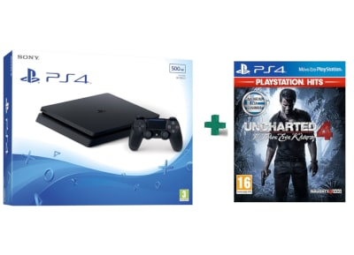 Sony PlayStation 4 - 500GB Slim D Chassis & Uncharted 4: Το Τέλος Ενός Κλέφτη PlayStation Hits