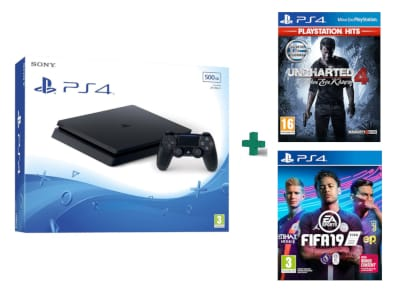 Sony PlayStation 4 - 500GB Slim D Chassis & Uncharted 4: Το Τέλος Ενός Κλέφτη PlayStation Hits & FIFA19