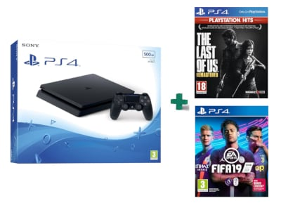 Sony PlayStation 4 - 500GB Slim D Chassis & The Last of Us Remastered PlayStation Hits & FIFA 19