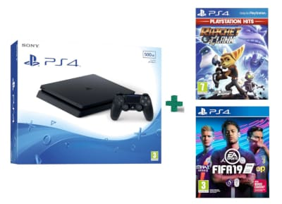 Sony PlayStation 4 - 500GB Slim D Chassis & Ratchet & Clank PlayStation Hits & FIFA 19