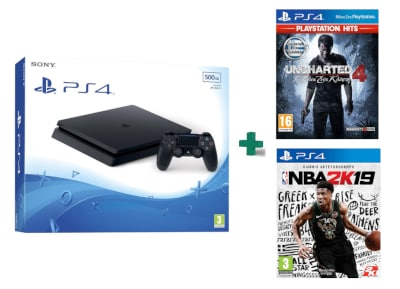 Sony PlayStation 4 - 500GB Slim D Chassis & Uncharted 4: Το Τέλος Ενός Κλέφτη PlayStation Hits & NBA 2K19
