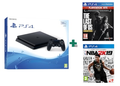Sony PlayStation 4 - 500GB Slim D Chassis & The Last of Us Remastered PlayStation Hits & NBA 2K19