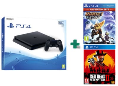 Sony PlayStation 4 - 500GB Slim D Chassis & Ratchet & Clank PlayStation Hits & Red Dead Redemption 2