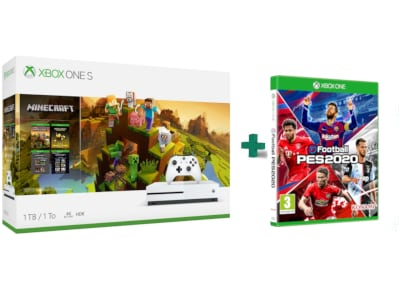 Microsoft Xbox One S White - 1TB & Minecraft Creators Bundle & eFootball Pro Evolution Soccer 2020