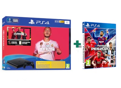 Sony PlayStation 4 Slim F Chassis - 1TB & Fifa 20 & eFootball Pro Evolution Soccer 2020