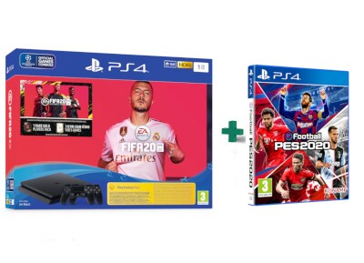 Sony PlayStation 4 Slim F Chassis - 1 TB & & 2ο Χειριστήριο μαύρο & Fifa 20 & eFootball Pro Evolution Soccer 2020