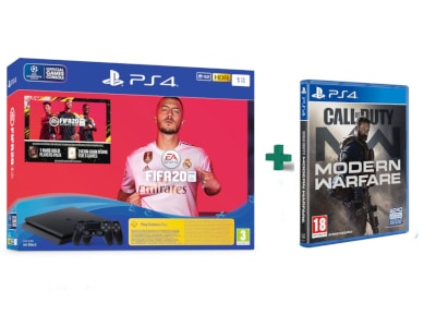 Sony PlayStation 4 Slim F Chassis - 1 TB & & 2ο Χειριστήριο μαύρο & Fifa 20 & Call Of Duty Modern Warfare