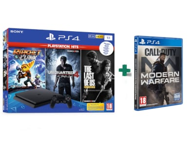Sony PS4 1TB Slim Μαύρο & The Last of Us Remastered & Ratchet & Clank & Uncharted 4  & Call Of Duty Modern Warfare