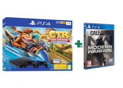 Sony PlayStation 4 - 1TB Slim F Chassis & Crash Team Racing Nitro-Fueled & 2ο Χειριστήριο (μαύρο) & Call Of Duty Modern Warfare