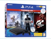 Sony PlayStation 4 - 1TB Slim F Chassis & Gran Turismo Sport Hits & Horizon Zero Dawn Complete Hits & Uncharted 4: A Thief's End Hits