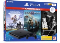 Sony PlayStation 4 Slim F Chassis - 1 TB & God OF War & Horizon Zero Dawn & The Last Of Us Remastered - Hits