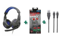 Bundle Gaming Headset Trust 23250 GXT 307B Ravu & Trust Thumb Grips & Trust GXT 222 Duo Charging Cable