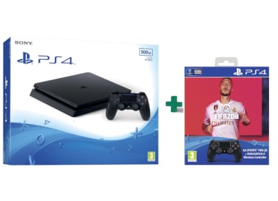 Sony PlayStation 4 - 500GB Slim F Chassis  & 2ο Χειριστήριο (μαύρο) & Fifa 20