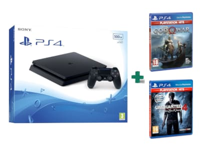 Sony PlayStation 4 - 500GB Slim D Chassis & God Of War Playstation Hits & Uncharted 4: Το Τέλος Ενός Κλέφτη PlayStation Hits