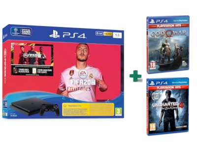 Sony PlayStation 4 Slim F Chassis - 1 TB & Fifa 20  & God Of War Playstation Hits & Uncharted 4: Το Τέλος Ενός Κλέφτη PlayStation Hits