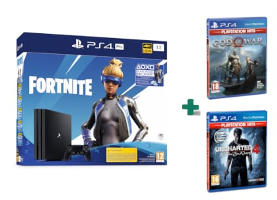 Sony PlayStation 4 Pro - 1TB - Fortnite Neo Versa bundles & God Of War Playstation Hits & Uncharted 4: Το Τέλος Ενός Κλέφτη PlayStation Hits
