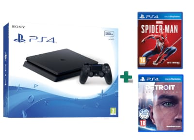 Sony PlayStation 4 - 500GB Slim D Chassis & Marvel's Spider-Man & Detroit: Become Human