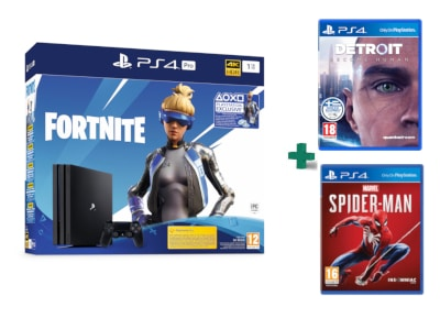 Sony PlayStation 4 Pro - 1TB - Fortnite Neo Versa bundles & Marvel's Spider-Man & Detroit: Become Human