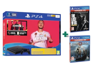 Sony PlayStation 4 Slim F Chassis - 1 TB & Fifa 20 & God Of War Playstation Hits & The Last Of Us Playstation Hits