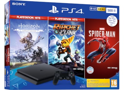 Sony PlayStation 4 - 500GB Slim D Chassis & Spider-man & Ratchet & Clank & Horizon Zero Dawn