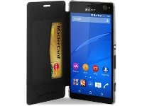 Θήκη Sony Xperia C4 - Puro Ecoleather Crystal Wallet Μαύρο/Διαφανές (SNYXC4BOOKCCRYBLK)