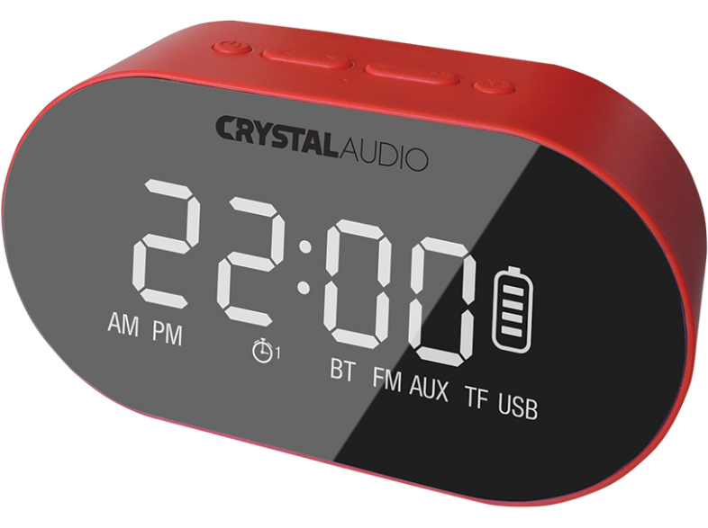 CRYSTAL AUDIO BTC1R BT Speaker Alarm Clock Κόκκινο